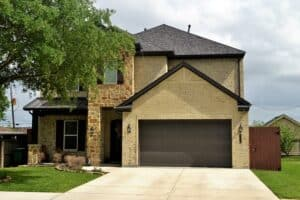 Front view of a two level luxury executive suburban home