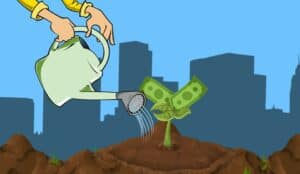 Cartoon drawing of a woman's hand holding a watering can and watering a money tree sapling to help it grow